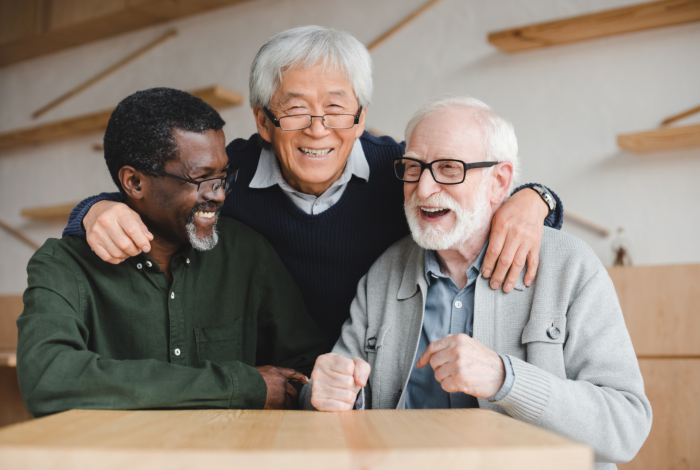 Three friends of elderly men